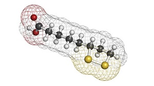 Lipoic acid enzyme cofactor molecule. Present in many nutritional supplements. Believed to have anti-oxidant, anti-aging and weight-loss effects. Atoms are represented as spheres with conventional color coding: hydrogen (white), carbon (grey), oxygen (red), sulfur (yellow).